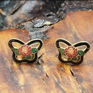 NWT Vintage cloisonne butterfly rose red leaf gold